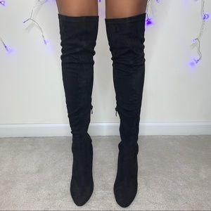 Black Suede Over the Knee Boots with Clear Heel